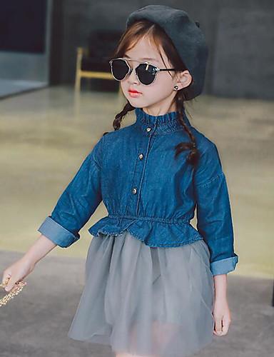 Girl's Color Block Dress,Polyester Summer Long Sleeve