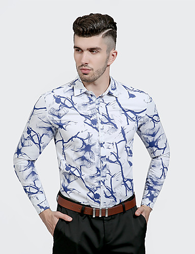 Men's Party Daily Going out Work Chinoiserie Spring Fall Shirt,Geometric Shirt Collar Long Sleeves Cotton Polyester Thin