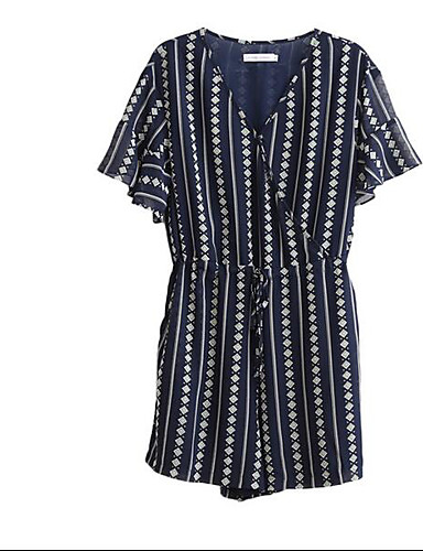 Women's Going out Daily Holiday Cute Active Street chic Geometric V Neck Rompers