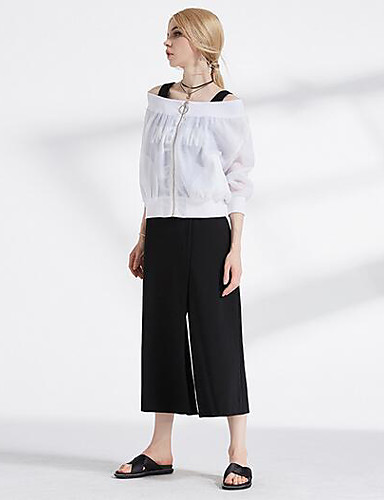 Women's High Rise Inelastic Wide Leg Pants,Simple Loose Solid