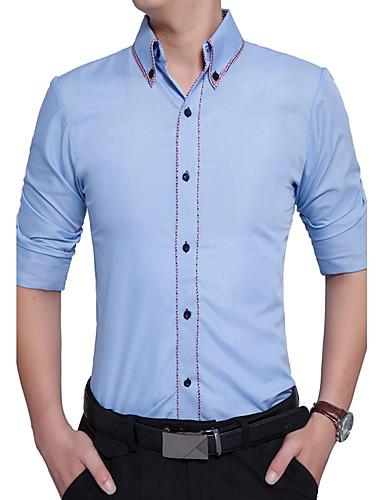 Bomull Rayon Tykk Langermet,Skjortekrage Skjorte Stripet Fargeblokk Alle årstider Vintage Fritid Daglig Arbeid Plusstørrelser Herre