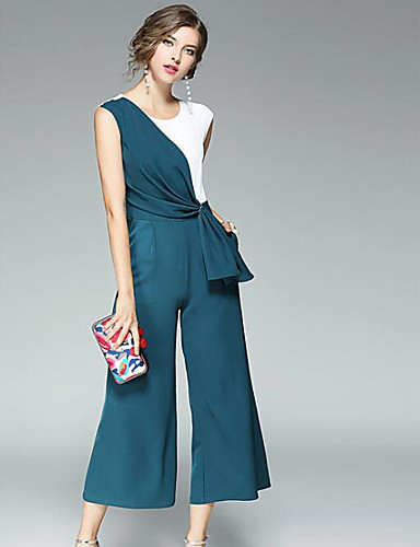 Women's Daily Casual Solid Patchwork Round Neck Jumpsuits