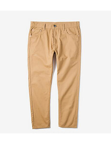 Men's Mid Rise Micro-elastic Chinos Pants,Simple Relaxed Solid