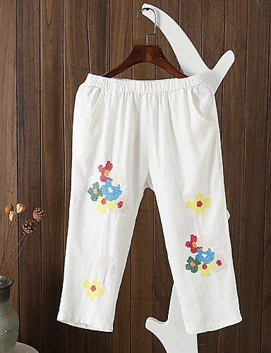 Women's Mid Rise strenchy Loose Pants,Street chic Relaxed Pure Color Stripe Embroidery