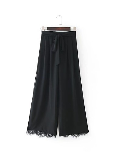 Women's Mid Rise Micro-elastic Loose Wide Leg Pants,Street chic Relaxed Pure Color Solid Lace Printing