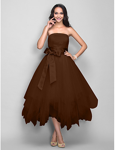 687d73d63fe1 Βραδινή τουαλέτα Στράπλες Κάτω από το γόνατο Σατέν   Τούλι Κοκτέιλ Πάρτι    Χοροεσπερίδα Φόρεμα με Φιόγκος(οι)   Ζώνη   Κορδέλα με TS Couture®