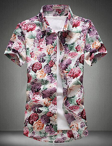 Men's Work Simple Cotton Shirt - Solid Colored / Floral Print / Short Sleeve