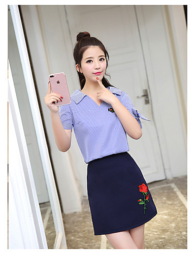Women's Daily Casual Casual Summer Shirt Skirt Suits,Striped Embroidery V Neck Short Sleeve Others Micro-elastic