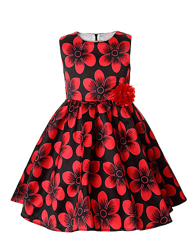 Girl's Floral Dress,Cotton Polyester Summer Sleeveless Floral Red