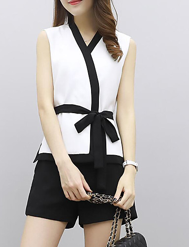 Women's Daily Casual Contemporary Summer T-shirt Pant Suits,Color Block V Neck Short Sleeve Polyster