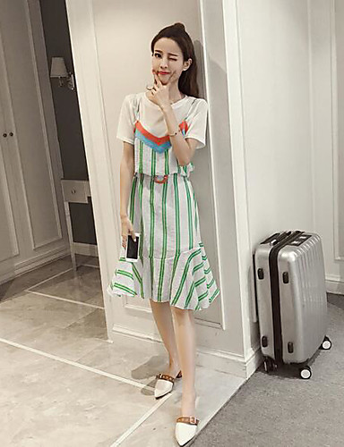 Women's Daily Casual Casual Summer T-shirt Dress Suits,Solid Striped Round Neck Short Sleeve Cotton/nylon with a hint of stretch Chiffon