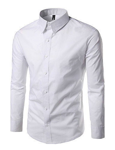Men's Daily Work Casual Active Shirt,Solid Standing Collar Long Sleeves Polyester