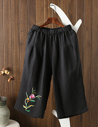 Women's Mid Rise strenchy Culotte Pants,Street chic Relaxed Wide Leg Pure Color Stripe Embroidery