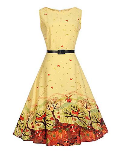 Mulheres Festa Diário Vintage Moda de Rua balanço Altura dos Joelhos Vestido, Estampado Decote Redondo Sem Manga Verão