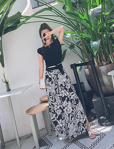 Women's Casual Casual Summer T-shirt Skirt Suits,Solid Bateau Short Sleeve Cotton/nylon with a hint of stretch Micro-elastic