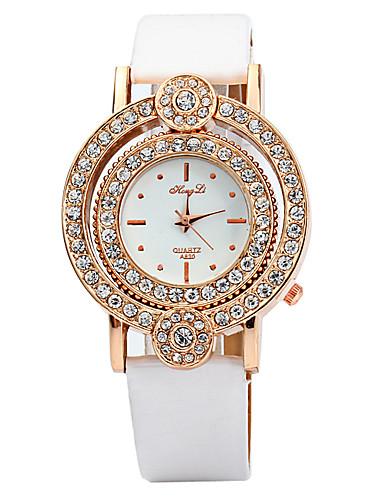 Mulheres Simulado Diamante Relógio Único Criativo relógio Relógio de Moda Chinês Quartzo imitação de diamante Couro Banda Brilhante Preta