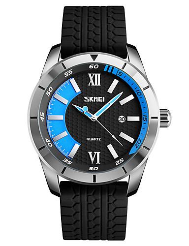 SKMEI Homens Relógio de Pulso Relógio Esportivo Japanês Quartzo Calendário Impermeável Silicone Banda Legal Preta