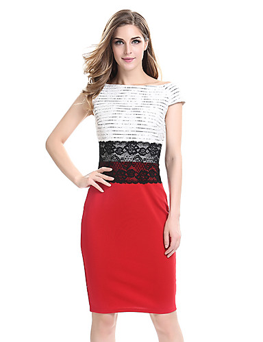 dc306a4ef93 Women s Plus Size Party   Work Bodycon   Sheath Dress - Color Block    Embroidery