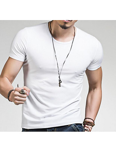 Men's Going out Active T-shirt,Solid V Neck Short Sleeves Cotton