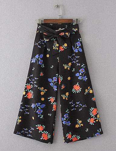Women's Mid Rise Micro-elastic Loose Wide Leg Chinos Pants,Street chic Floral Cotton Summer