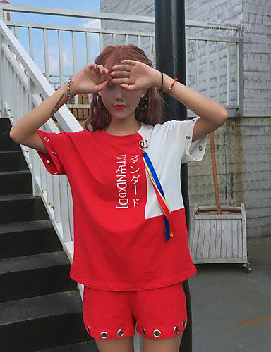 Dame Gatemote T-skjorte Bukse Fargeblokk / Sommer