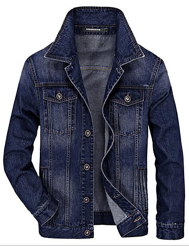 Men's Daily Simple Casual Spring Denim Jacket,Solid Peaked Lapel Long Sleeve Short Others