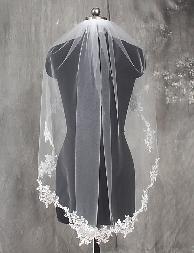 One-tier Lace Applique Edge Wedding Veil Elbow Veils 53 Appliques Lace Tulle