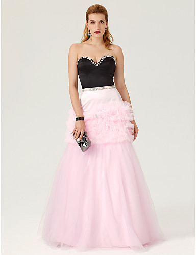 cheap Prom Dresses-Ball Gown Sweetheart Neckline Floor Length Satin / Tulle Color Block / Celebrity Style Prom / Formal Evening Dress with Crystals / Cascading Ruffles by TS Couture®