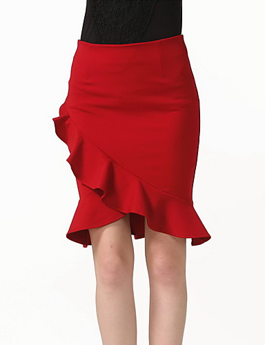 Women's Daily / Holiday / Going out Casual Bodycon Skirts - Solid Colored / Spring / Summer / Fall / Club / Ruffles and Frills