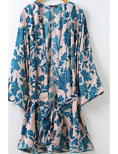 Women's Going out Street chic Cotton Trench Coat - Print V Neck / Summer