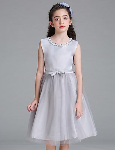 Mädchen Kleid Solide Baumwolle Polyester Sommer Ärmellos Blumig Grau