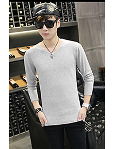 Men's Daily Regular Pullover,Solid V Neck Long Sleeves Cotton Fall Winter Medium Micro-elastic