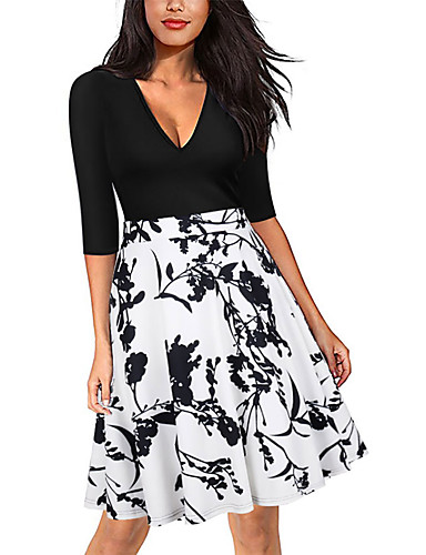 Women's Party Holiday Club Vintage Sexy Boho Sheath Swing Dress,Polka Dot Floral V Neck Above Knee Half Sleeves Polyester Spring Summer