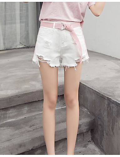 Women's High Rise Micro-elastic Jeans Shorts Pants,Sexy Slim Solid