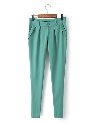 Women's Mid Rise strenchy Skinny Chinos Pants,Street chic Relaxed Pure Color Solid