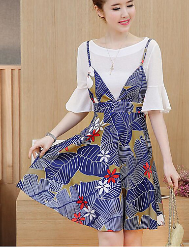 Women's Daily Casual Summer Blouse Dress Suits,Floral Print Round Neck 1/2 Length Sleeve Cotton Chiffon