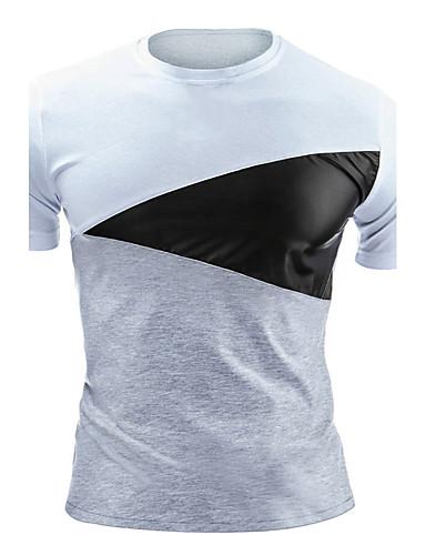 Homens Camiseta Activo Estampa Colorida Algodão Decote Redondo