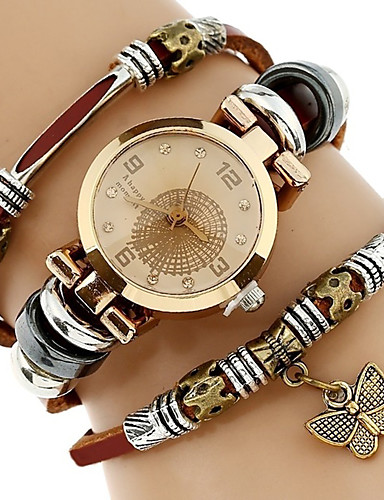 cheap Bracelet Watches-Women's Ladies Bracelet Watch Wrap Bracelet Watch Quartz Wrap Quilted PU Leather Brown Water Resistant / Waterproof Creative Analog Casual Fashion Elegant - Black Brown Green One Year Battery Life