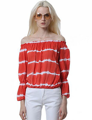 Women's Casual/Daily Cute Summer T-shirt,Striped Strapless Long Sleeves Cotton