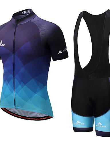 cheap Cycling Jersey & Shorts / Pants Sets-Miloto Men's Short Sleeve Cycling Jersey with Bib Shorts - White / Black Bike Clothing Suit Spandex Gradient / Stretchy