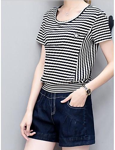 Kortermet,Rund hals T-skjorte Bukse Drakter Stripet Sommer Moderne Daglig Dame
