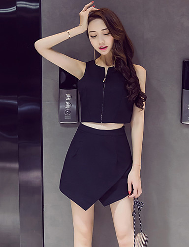Women's Daily Others Summer Tank Top Pant Suits,Solid Round Neck Sleeveless Others