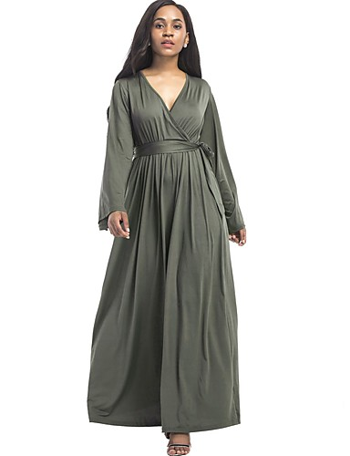 Women's Daily Plus Size Street chic Loose Swing Dress,Solid V Neck Maxi Long Sleeves Cotton Polyester All Seasons Mid Rise Stretchy Thin
