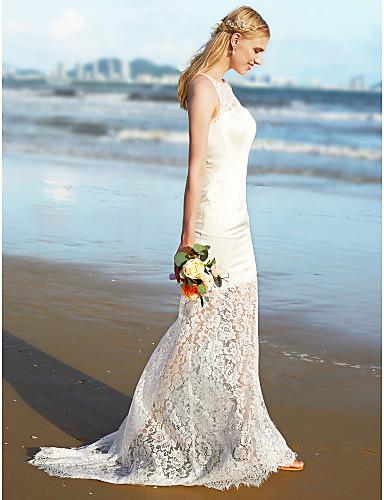 Havfrue Besmykket Svøpeslep Blonder Sateng Egendefinerte brudekjoler med Blonder av LAN TING BRIDE®