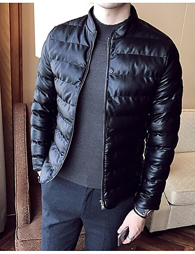 Men's Padded Coat,Simple Active Daily Casual Solid Leather-Cotton Rayon Leather Cotton Long Sleeves