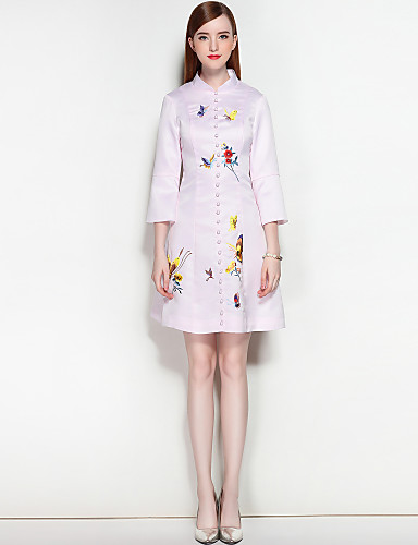 Women's Street chic Puff Sleeve A Line Dress - Solid Colored Embroidered Split Stand