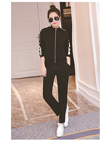 Women's Other Casual Other Spring Fall Hoodie Pant Suits,Solid Letter Crew Neck Long Sleeve Cotton/nylon with a hint of stretch