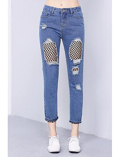 Women's Mid Rise Micro-elastic Jeans Pants,Cute Simple Slim Mesh Ripped Solid