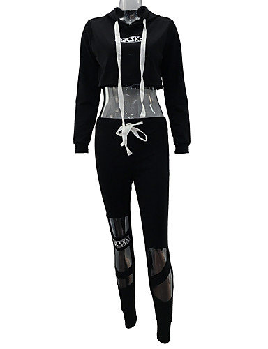 Women's Sports Holiday Going out Daily Sexy Street chic Fall Winter Hoodie Pant Suits