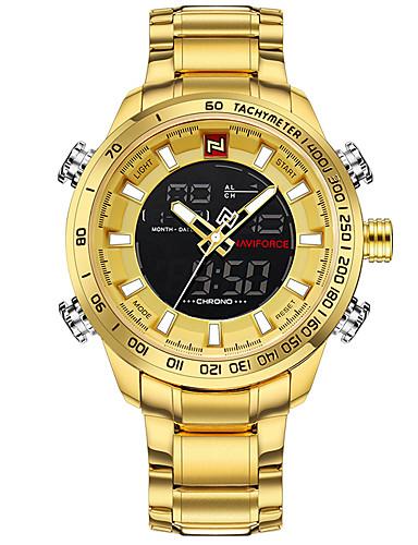 b21c695657b Homens Relógio Esportivo Relógio Militar Relógio de Pulso Japanês Quartzo  Aço Inoxidável Preta   Prata   Dourada 30 m Impermeável Calendário  Cronógrafo ...
